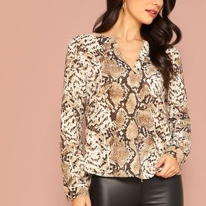 Snakeskin Blouse with V-Neck Collar